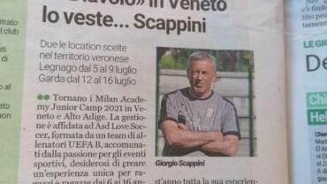 Giorgio Scappini, organizzatore dei Milan Academy Junior Camp è su L'Arena di Verona di oggi